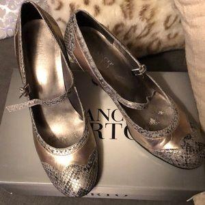 Pewter snakeskin dancing shoes!